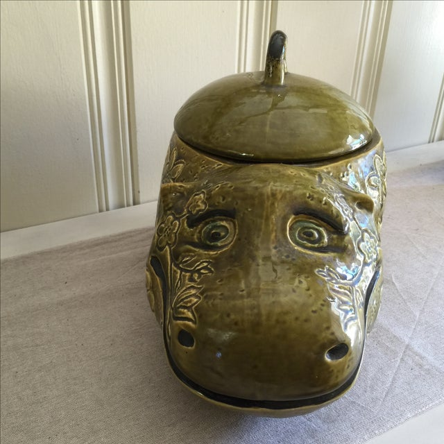 Mid-Century Modern Large Mid-Century Hippo Cookie Jar For Sale - Image 3 of 11