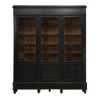 Antique French Napoleon III Original Ebony Bookcase For Sale