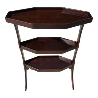 English Traditional Dark Cherryly Shaped Bombay Co 3 Tiered Accent Table For Sale