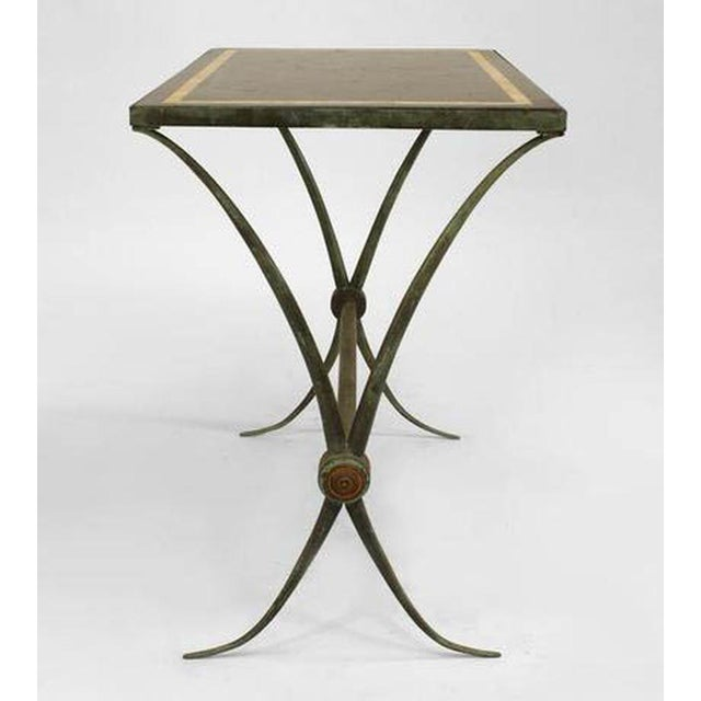 Art Deco French Art Deco Green Patinated Bronze End Table For Sale - Image 3 of 6