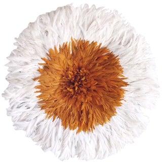 African Orange and White Juju Hat