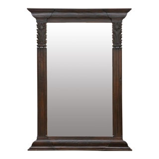 Distinguished Ebonized Javanese Carved Floor Mirror For Sale
