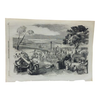 """1857 Antique Illustrated London News """"A Swinging Festival in India"""" Print For Sale"""