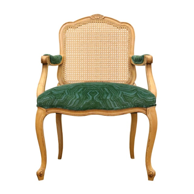 Pair of beautiful French armchairs by Century Furniture. Newly reupholstered in the iconic Cowtan & Tout Malachite Velvet....