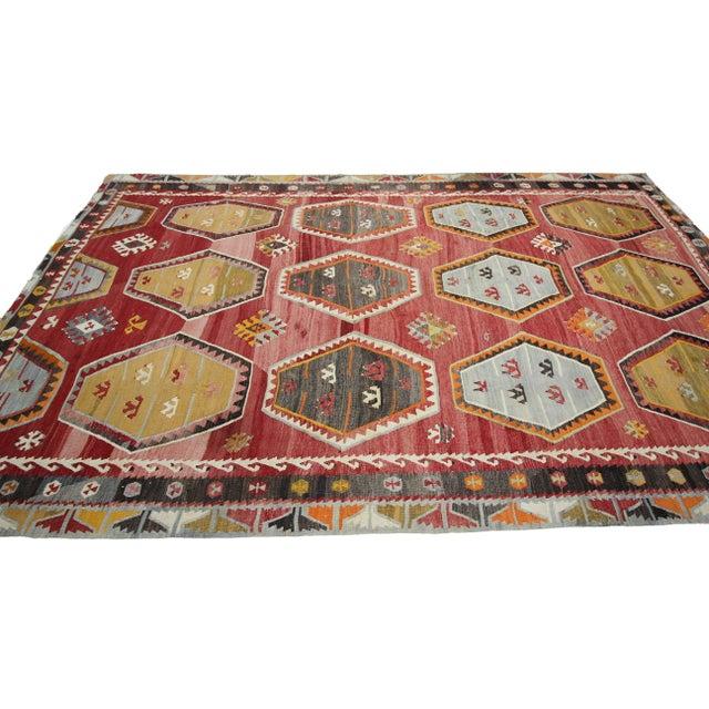 Boho Chic 1960s Vintage Turkish Sivas Wool Kilim Rug- 7′6″ × 11′9″ For Sale - Image 3 of 7