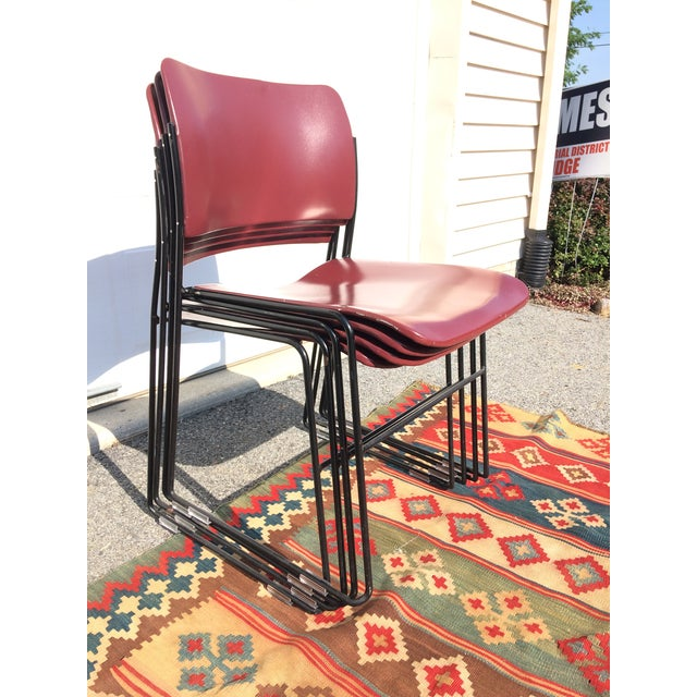 David Rowland for Rowe 40/4 Stackable Chairs- Set of 4 For Sale - Image 10 of 11