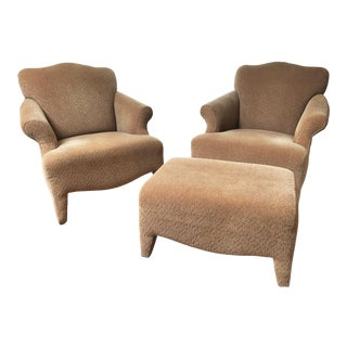 1990s Vintage John Hutton Style Club Chairs & Ottoman- 3 Pieces For Sale