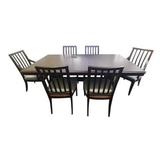 Traditional Thomasville Furniture Harlowe & Finch Rustic Oak Dining Set - 7 Pieces For Sale