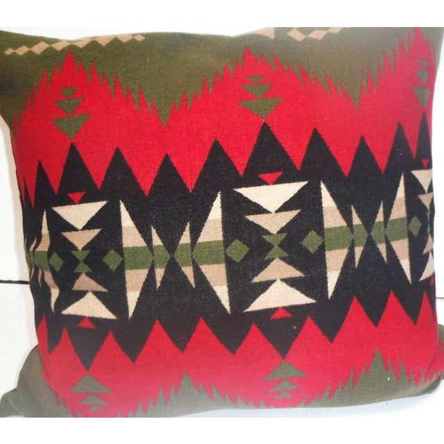 Primitive Fantastic Geometric Pendleton Indian Design Camp Blanket Pillows, Pair For Sale - Image 3 of 5