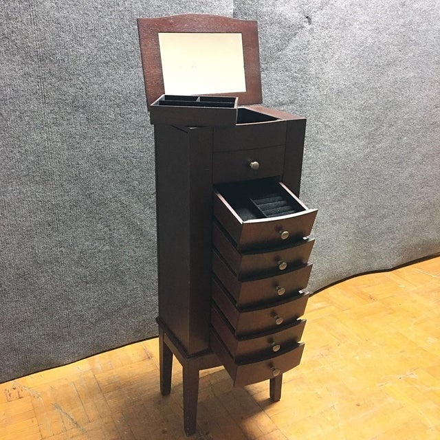 Dark Wood 6 Drawer Jewelry Chest With Flip Top Mirror - Image 6 of 10
