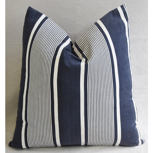 """Custom French Stripe Ticking Fabric Feather & Down Pillows 22"""" X 21"""" - a Pair - Image 5 of 11"""