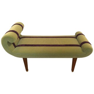 Custom Designed Green Mohair Bench For Sale