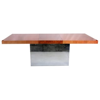 Milo Baughman Dining Table with Chevron Marquetry Top For Sale