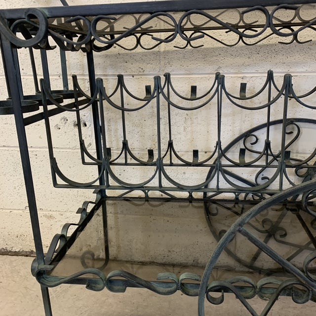 Verdigris Wrought Iron Scroll Tea Liquor Cart For Sale In Richmond - Image 6 of 11