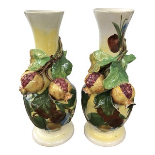 Italian Applied Figs Barbotine Vases - a Pair For Sale