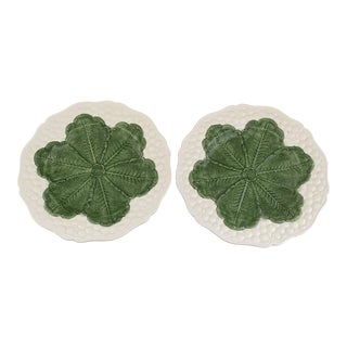 Italian 1980s Majolica Cabbage Plates- a Pair For Sale