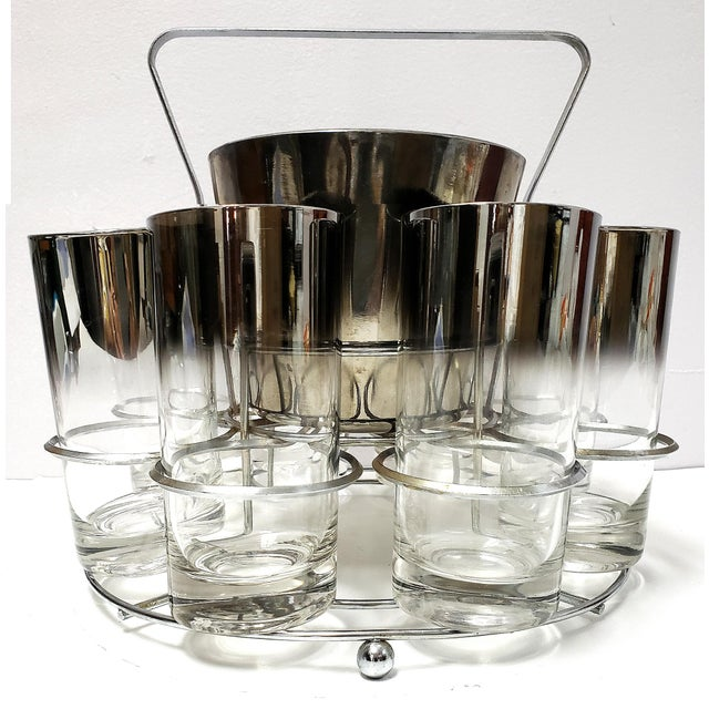 Dorothy Thrope Mirrored Glases& Ice Bucket Set W/ Stand - Set for 8 For Sale - Image 10 of 10
