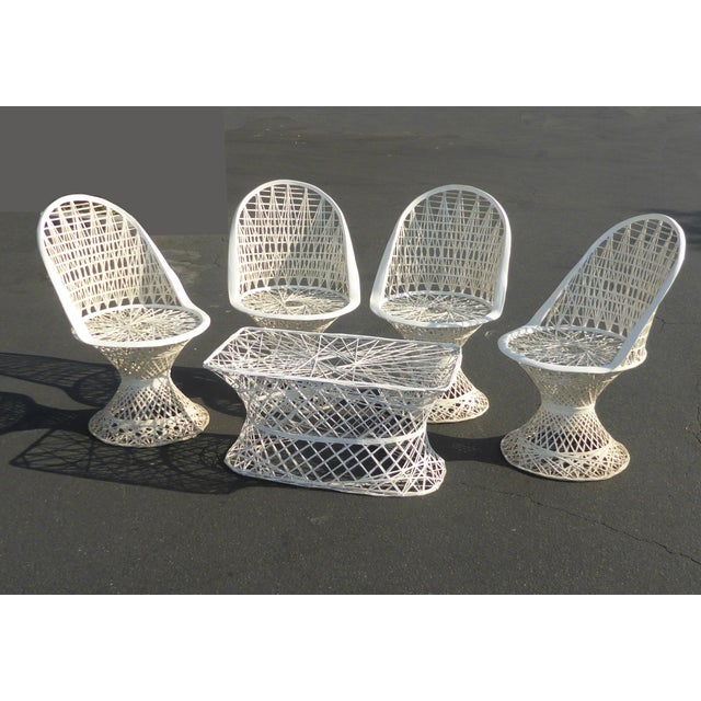 Four Spun Fiberglass White Chairs & Coffee Table by Russell Woodard Patio Set - Image 5 of 11