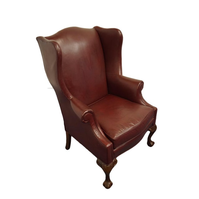 "WHITTEMORE-SHERRILL Burgundy Leather Wingback Arm Chair 46"" High 33"" Wide 34"" Deep Seat: 20.5"" High Arms: 27.5"" High We..."