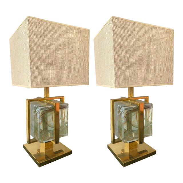 Contemporary Pair of Lamps Brass Cage Murano Glass Cube, Italy For Sale