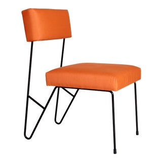 Fay Outdoor Dining Side Chair, Orange Upholstered Sunbrella with Black Powder Coated Stainless Steel Base For Sale