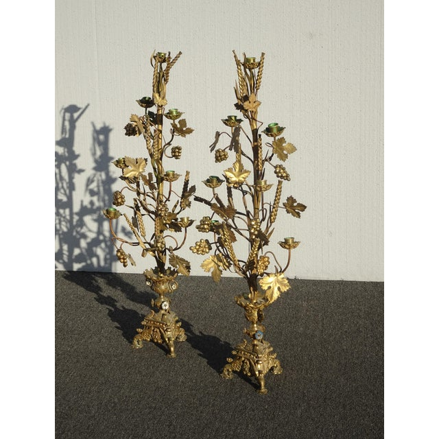 """1950s Pair Tall 36""""h Vintage Gold Table Top Floral Candelabras Brass Candle Holders Light For Sale - Image 5 of 13"""