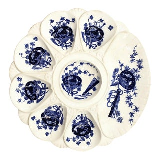 Antique Minton Aesthetic Blue Koi and Shell Motif Oyster Plate For Sale