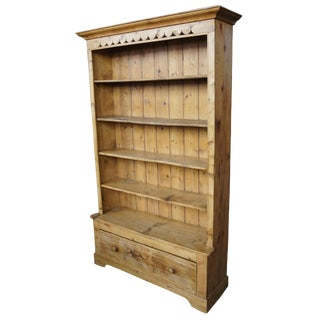 Antique English Solid Pine Open Bookcase For Sale