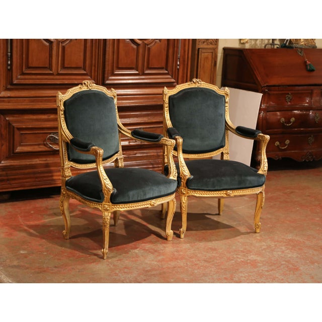 Pair of 19th Century French Louis XV Carved Giltwood Armchairs With Green Velvet For Sale - Image 4 of 11