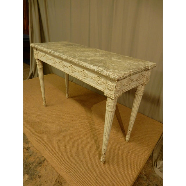 Vintage Louis XVI Style Painted Console For Sale - Image 4 of 7