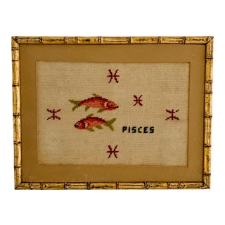 Vintage Pisces Astrology Needlepoint With Gold Faux Bamboo Frame For Sale