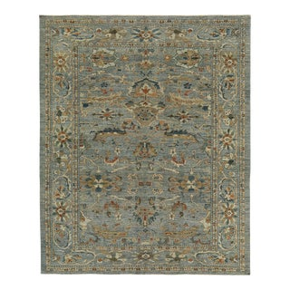 Turkish Rug With Navy & Brown Botanical Details For Sale
