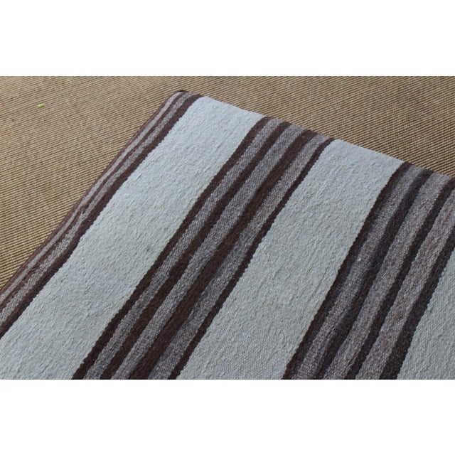 Upholstered Ottoman in Vintage Striped Navajo Rug For Sale - Image 10 of 11