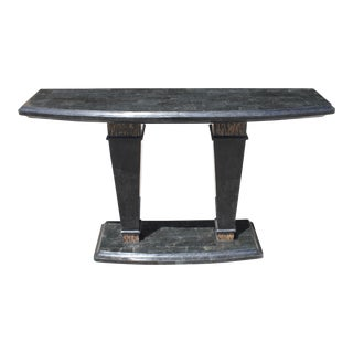 1970s Maitland Smith Danish Modern Tessellated Stone Console Table For Sale