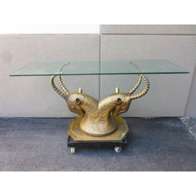 70's Bronze & Zinc Antelope Head Console Table Base For Sale - Image 12 of 12