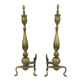 Vintage Brass Andirons For Sale