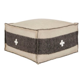 "Swiss Army Pouf, 24""X24""X13"", Cream/Black For Sale"