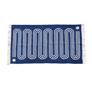 Starwort Rug, 4x6, Blue & White For Sale