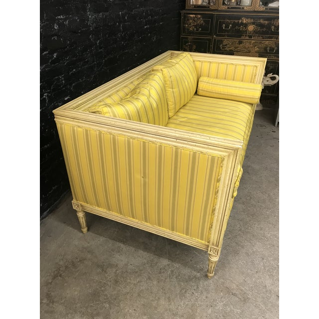 1960s Bright Yellow & Green Stripe French Directoire Louis XVI Settee Loveseat For Sale - Image 5 of 13