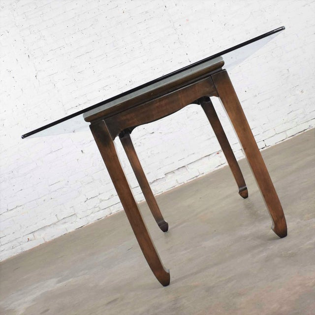 Late 20th Century Vintage Chinoiserie Chow Leg Glass Top Dining Table Walnut Color Finish For Sale - Image 5 of 13