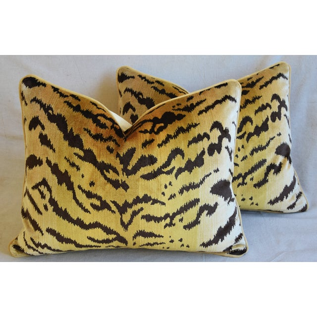 """Feather Scalamandre Le Tigre Tiger Silk Feather/Down Pillows 23"""" X 18"""" - Pair For Sale - Image 7 of 12"""