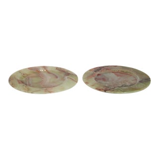 1950s Italian Marble Plates - a Pair For Sale