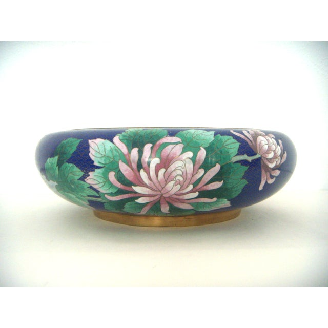 Large Blue Cloisonné 'Flower Bowl' and Stand - Image 4 of 11