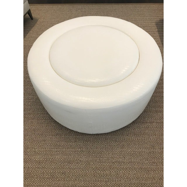 Astonishing Custom White Leather Round Ottoman Gmtry Best Dining Table And Chair Ideas Images Gmtryco