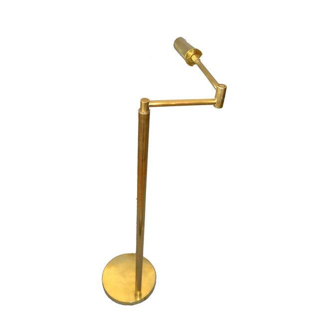 Mid-Century Modern Italian Brass Swing Arm Floor or Reading Lamp. Comes with a footswitch and the shade rotates. Wired for...
