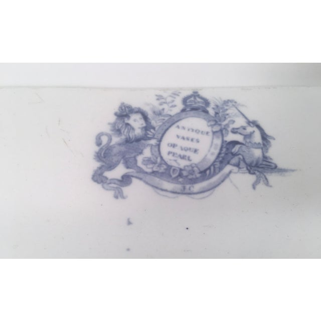 Mid 19th Century Blue and White Neoclassical Staffordshire Platter with Provenance For Sale - Image 5 of 11