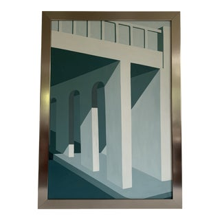 Post Modern Architectural Hard Edge Painting For Sale