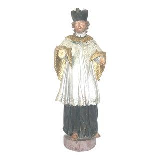 Carved Catholic European Statue of Saint Nepomuk Santos