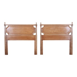 American of Martinsville Mid-Century Modern Cherry and Burl Wood Twin Headboards - a Pair For Sale