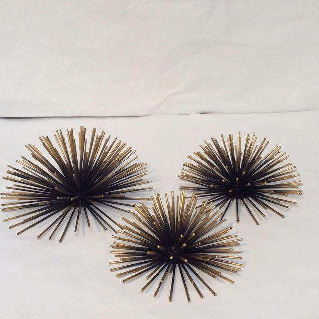 """Variety Set of 3 black metal gold tipped atomic wall decor pieces, sometimes referred to as being """"Sea Urchin"""" style. They..."""